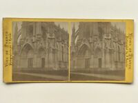 Rouen Portail dellaChiesa di Bonsecours Fotografia Stereo Vintage Albumina