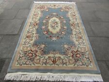 Old Hand Made Art Deco Chinese Carpet Blue Grey Wool Large Rug Carpet 250x154cm