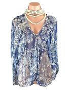 Johnny Was 4 Love & Liberty Blue floral Silk Blouse S Top Bohemian Formal Boho