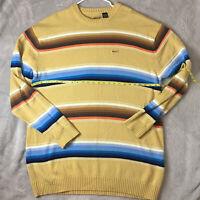🔥Vintage ENYCE Men's Tan Multicolor Striped Knit Sweater Size 3XL
