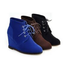 Women Ankle Boots Wedge Heel Shoes Lace Up Suede Winter Casual Round Toe Booties
