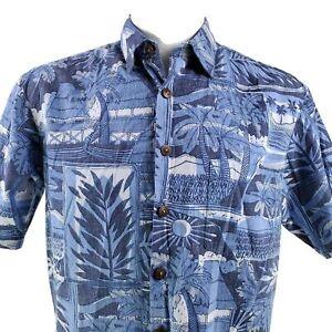 Kahala Reverse Print Palms Huts Sun Floral Blue Medium Hawaiian Aloha Shirt