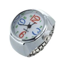 Silver Alloy Quartz Round Dial Pocket Finger Ring Watch H8S4