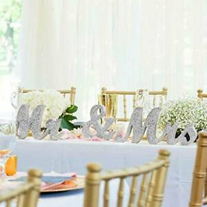 Wooden Standing Mr and Mrs Letters Table Sign Silver Wedding Decorations Rustic