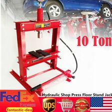 10T Hydraulic Shop Press Floor Shop Equipment Jack Stand 178mm Stroke With Gauge