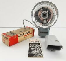 Boxed Vintage Zeiss Ikon Ikoblitz 5 Corded Bulb Fan Style Flash MINT Condition