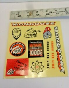 """VINTAGE DECAL, BMX MONGOOSE, CROSS THE LINE , 5 1/2"""" X 5 1/8"""" FROM 90S"""