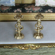 Vtg Dollhouse GOLD CANDLE HOLDERS MidCentury Candleholder Petite Princess Style