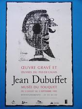 Jean DUBUFFET Affiche Barbu à lunettes Oeuvre gravé Art brut Le Touquet 1995