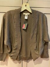 NWT Xai Soft Brown Cocoa Cotton Blend Shrug 3/4 sleeve Medium 21