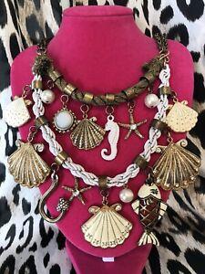 Betsey Johnson Vintage Nautical White Shell Fish Seahorse Hook Rope Necklace