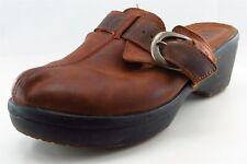 Crocs Mules Brown Leather Women Shoes Size 9 Medium (B, M)