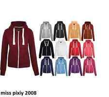 Kids Girls & Boys Unisex Plain Fleece Hoodie Zip Up Style Zipper Age 3-13 Years