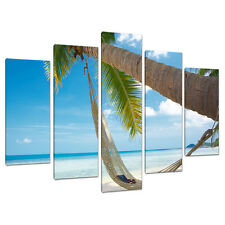 Set of 5 Beach Wall Art Canvas Pictures Blue Caribbean Maldives 5039