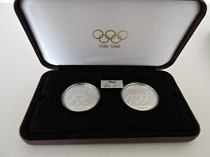1996 SILVER PROOF COINS (2) - OLYMPIC CENTENNIAL SERIES - IN PRESENTATION BOX