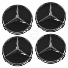 OEM Raised Chrome & Black Wheel Center Cap Set of 4 for Mercedes Benz New