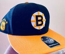 "Rare ""Sure Shot"" Boston Bruins NHL Hockey '47 Brand Snapback Black Hat Cap vtg"