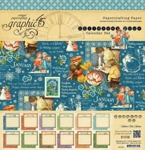 """Graphic 45 Children's Hour Collection 12"""" x 12"""" Calendar Pad 12""""x12"""" 24 Sheets"""