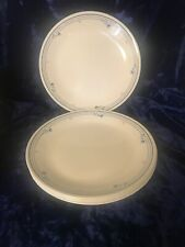 7 Corelle Dinner Plates Country Violets Cream with Blue Stripes & Floral