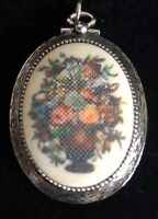 "VINTAGE Sarah Coventry Pendant 1973 Tapestry Flower Basket 2"" X 1.5"""
