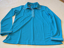 Adidas Golf  polo long sleeve shirt womens active L Z91694 blue NWT^^