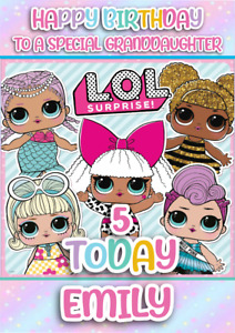 personalised birthday card LOL doll any name/age/relation/occasion.