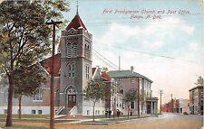 North Dakota postcard Fargo First Presbyterian Church & Post Office street scene