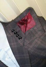 38R 40 Bordeaux Plaid Tweed Surgeon Cuff Red Gray Check Jacket Blazer Sport Coat