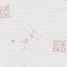 12 Scrapbook Paper 5p DeJa View Vellum Baby Girl Tiny Type Newborn Announcement