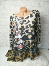 Italy Pulli Mickey Mouse Gr.36 38 40 42 Shirt Pullover Leo Nieten taupe blogger