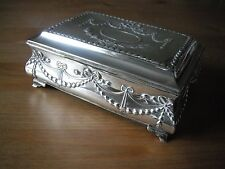 Edwardian silver bombe shape jewel box, embossed with swags, 1908 Henry Matthews