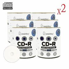 1200 Pcs Smartbuy White Inkjet Printable For Blank CD-R 52X 700 MB Record Disc