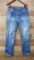 Destroyed Vintage Wrangler Mens Denim Jeans Faded  Distressed Workwear 34 x 32