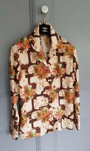 Autumnal Vtg 60's Brown Beige  Arty  cottagecore Vintage  Blouse Shirt 10 12