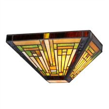 """Mission Style Wall Sconce Light Lamp Tiffany Style 12""""W"""
