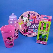 MINNIE DRINK CUP TUMBLER WATER BOTTLE PLATE DISH FORK/SPOON ZAK DISNEY BPA  FREE