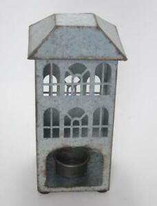 Rustic Style Galvanized Tin Church Candle Holder with LED Tea Light Candle