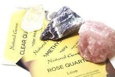 Rose Quartz, Clear Quartz & Amethyst Raw Mineral Crystal Specimens +Meaning Card