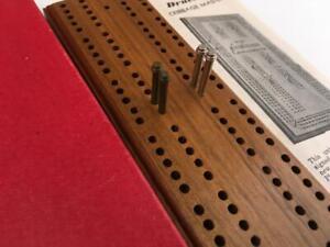 Vtg Drueke's 1950 CRIBBAGE MASTER Cribbage Walnut Board No.1 Box MINT small