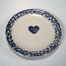 Tienshan FOLKCRAFT HEARTS Stoneware Dinner Plate ~ Blue Spongeware
