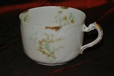 Haviland Limoges France Cup White ,Gold  Green Flowers Manufacturers Mark H