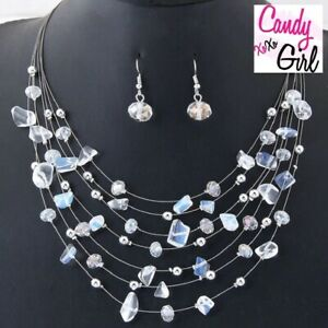 Multi Layer Crystal Coral Necklace And Earring Evening Wedding Jewellery Set