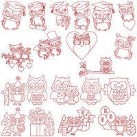 * OWLS * Machine Embroidery Redwork Patterns * 20 Designs, 2 Sizes
