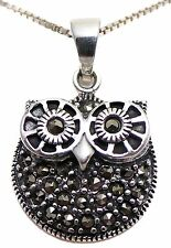 """Solid 925 Sterling Silver Marcasite Wise Owl Steampunk Shimmery Pendant 0.98"""""""