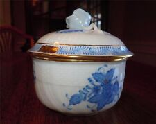 Herend Chinese Bouquet Blue ~ Covered Sugar Bowl 1464 ~ Raised Flower Finial
