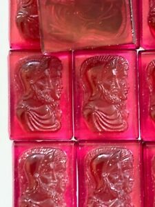 V087 - 10 Vintage Ruby Rose Glass Cabs - Profile of Warriors - 18x13mm - Detail!