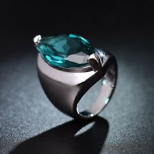Fashion Lady Marquise Blue Aquamarine Crystal Trumb Rings Silver Wedding Band