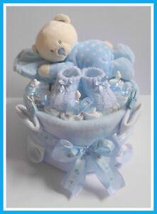 Windeltorte PAMPERS ♥ Schlafbärchen auf Kissen ♥ Windelgeschenk Geburt Junge