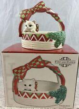 Vintage Fitz and Floyd Yuletide Kitten Basket Ceramic Christmas Cat