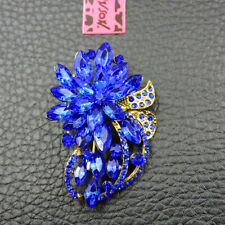 Betsey Johnson Charm Brooch Pin Women's Dark Blue Crystal Exquisite Flower